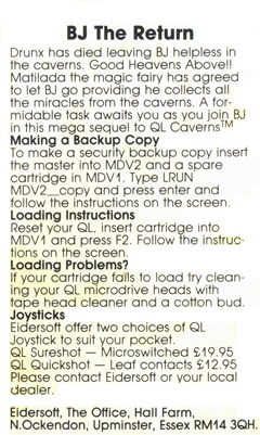 Instructions for Sinclair QL BJ The Return