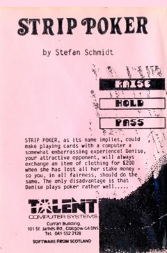 Packaging for Sinclair QL Strip Poker