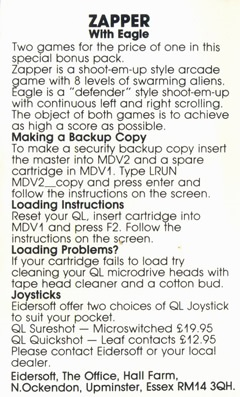 Instructions for Sinclair QL Zapper with Eagle