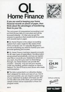 Leaflet for Sinclair QL Home Finance