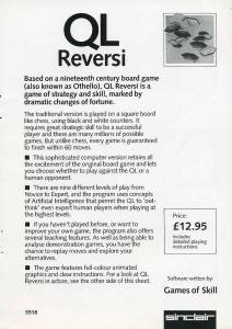 Leaflet for Sinclair QL Reversi