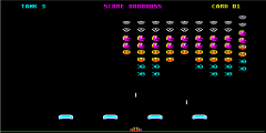 Screenshot of Sinclair QL Galactic Invaders