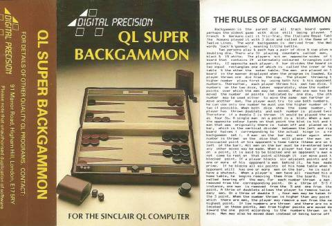 Inlay for Sinclair QL Super Backgammon